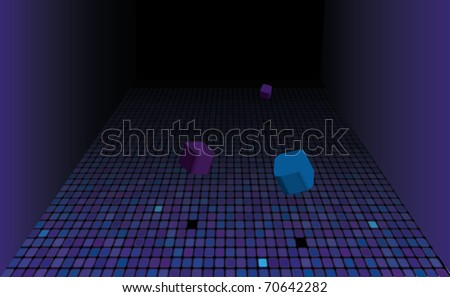 3d abstract background with transparent cubes - vector