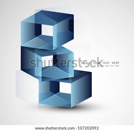 3d abstract blue colorful boxes Vector design - stock vector