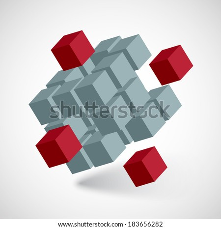 3D abstract cube - stock vector