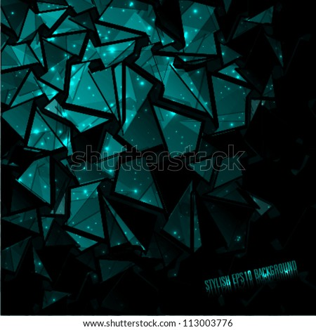 3d abstract dark blue background - stock vector