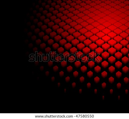 3d abstract dynamic red background on black - stock vector