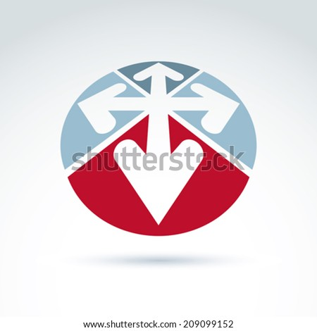 3d abstract emblem with four multidirectional arrows placed in sectors  up, down, left, right. Conceptual corporate symbol, brand icon. - stock vector