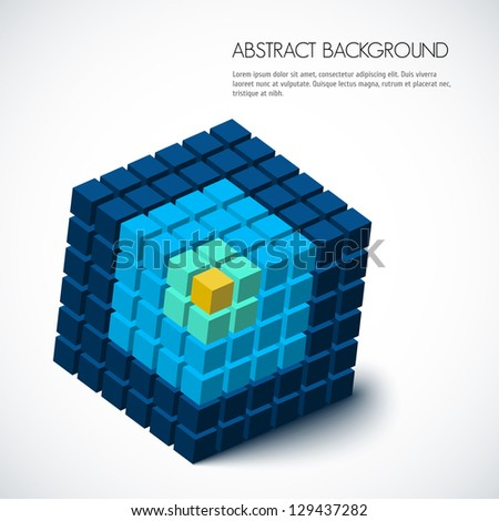 3D Abstract geometric background - stock vector