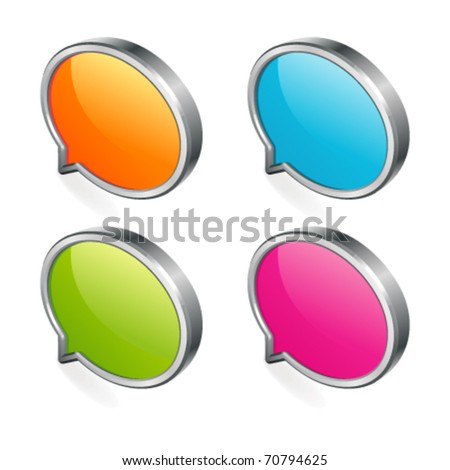 3d abstract glossy speech bubble in perspective with place for text vector design elements - stock vector
