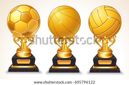 3D Abstract Gold Sport Ball Trophy. Soccer, VolleyBall, Basketball Championship winner Symbol
