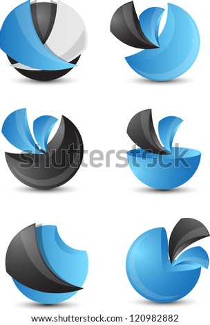 3d abstract icon set - stock vector