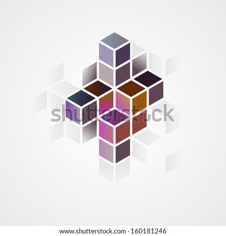 3d abstract shape, vector illustration - stock vector