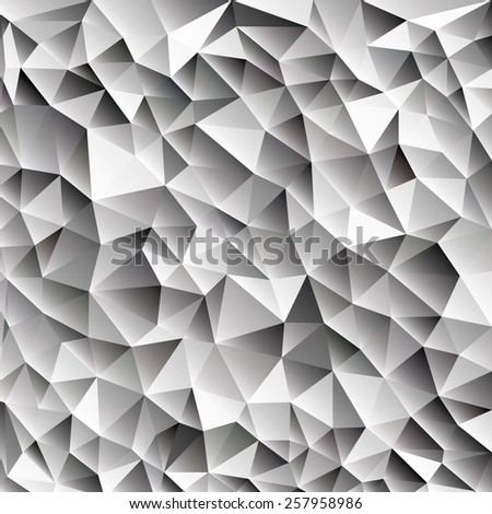 3d abstract shining ice cubes vector geometric web background, different shades of gray with triangle, black and white color diamond pattern wallpaper design, eps10 stock vector art image illustration - stock vector