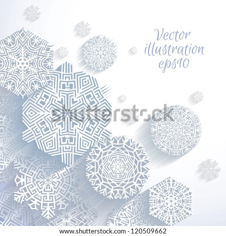 3D Abstract Snowflakes, vector illustration - stock vector