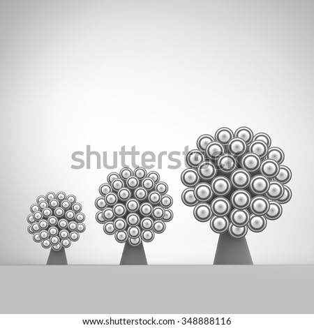 3d Abstract Tree. Leadership Vector Illustration. Concept for Communication, Business, Social Media, Technology, Network and Web Design.   - stock vector