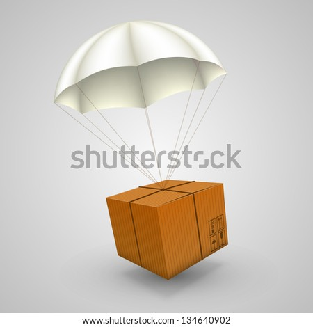 3d air parcel, Parachute paper box sing, Vector illustration - stock vector