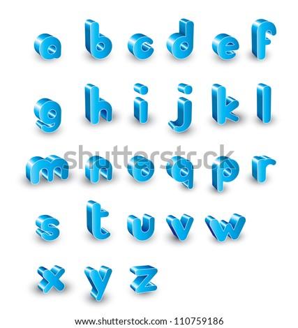 3d  alphabet set - stock vector
