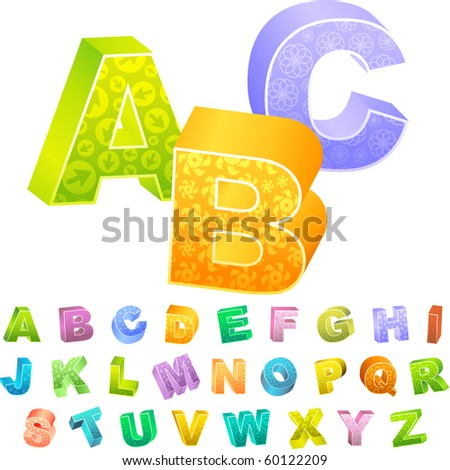 3d alphabet. Vector collection. - stock vector