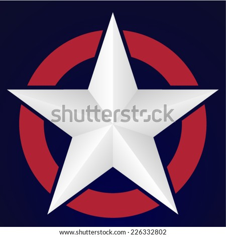 3D American star - stock vector