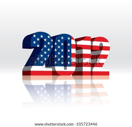 3D 2012 American (USA) Vector Flag - stock vector