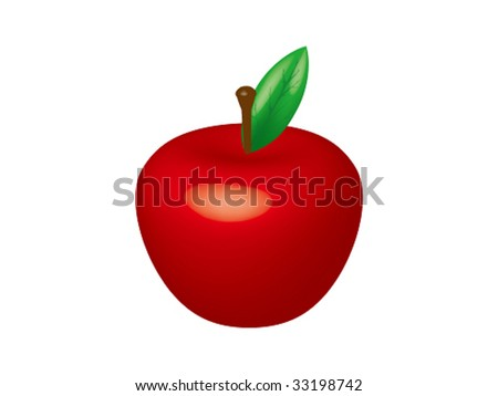 3D apple vector - stock vector