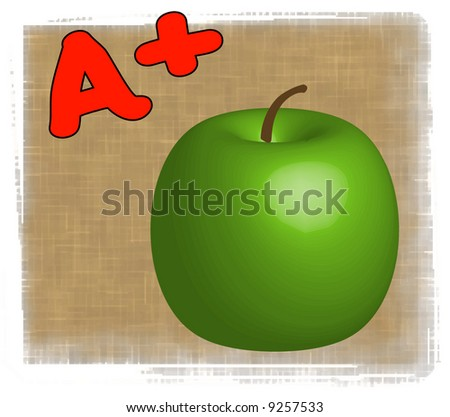 3D apple with A+ - making the grade in school - vector - stock vector