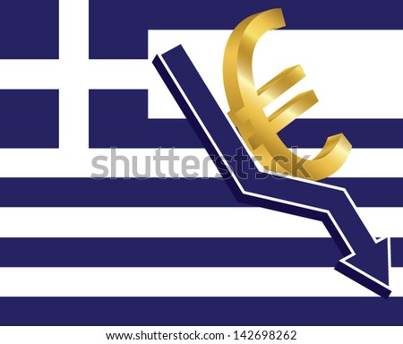 3d arrow and golden euro sign on the greek flag. Economic crisis concept. - stock vector