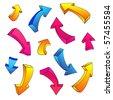 3D arrow color sketchy design elements set vector illustration - stock vector