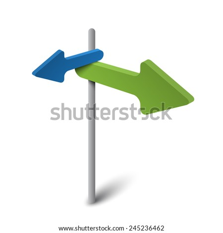 3d arrow signpost - stock vector