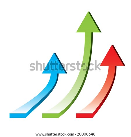 3d arrows pointing upwards - rising economy / vector illustration - stock vector