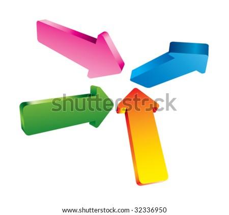 3D Arrows vector - stock vector