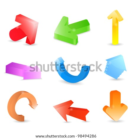 3D Arrows, vector eps10 illustration
