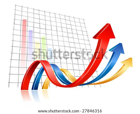3D arrows waving and upwarding - stock vector