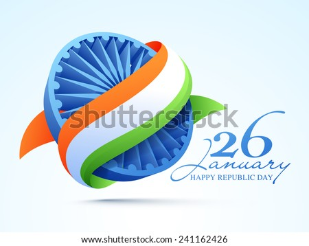 3D Ashoka Wheel covered by national tricolor ribbon for 26 January, Happy Indian Republic Day celebration. - stock vector