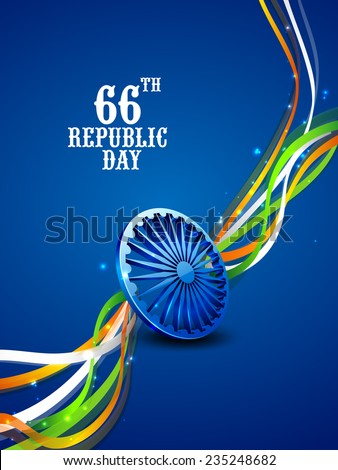 3D Ashoka Wheel with shiny national flag color stripes on blue background for 66th year of Indian Republic Day celebrations. - stock vector
