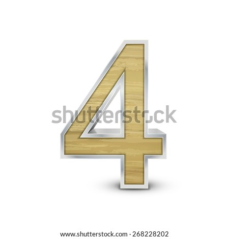 3d attractive wooden number 4 isolated on white background