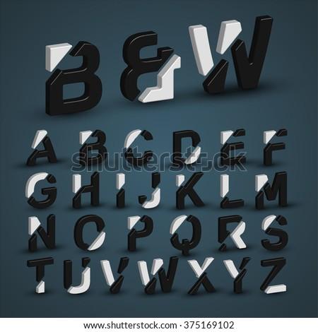 3d balck & white character from a typeset, vector - stock vector