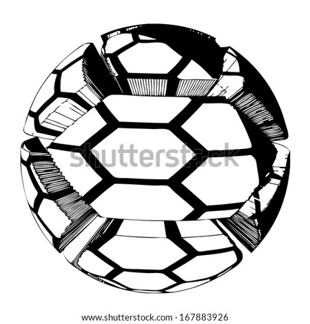 3D ball vector with hexagon pattern - isolated transparent object on white background - stock vector