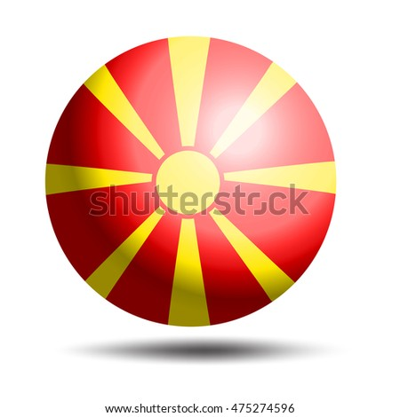3D Ball with Flag of Macedonia icon or badge