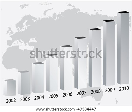 3D bar graph with map - stock vector