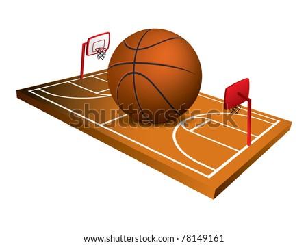 3d Basketball field vector - stock vector