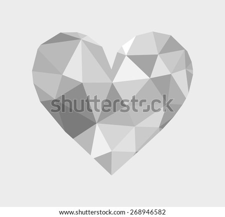 3d beautiful diamond heart shape in many shades of gray color, realistic design of shiny luxury gem. symbol of love, passion and romance. vector art image illustration isolated on white background - stock vector