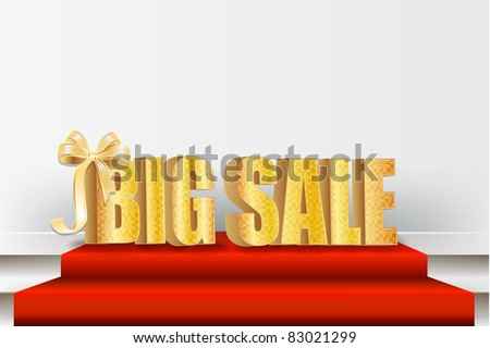 3D big sale, made of pure, beautiful  luxury gold - stock vector