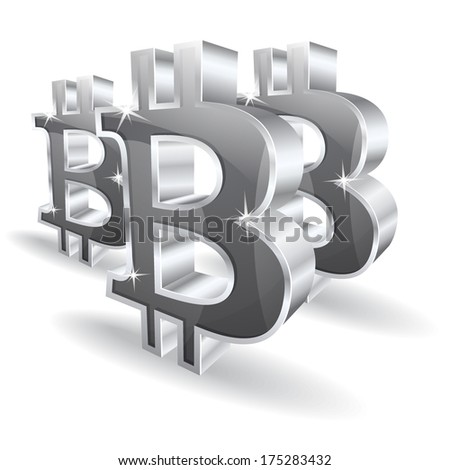 3d Bit Coin Vector Sign  - stock vector