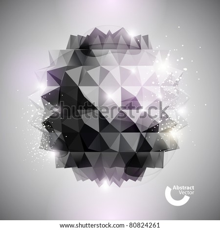 3D black ball - stock vector