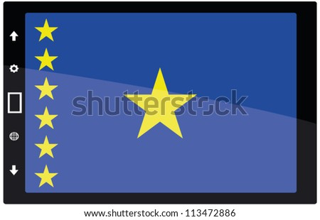 3d Black tabet pc on white background with Democratic Republic of Congo flag