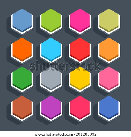 16 3d blank icon in flat style. Set 02 (inactive variant). Colored matted hexagon button with shadow on gray background. This vector illustration web internet design element saved in 8 eps - stock vector