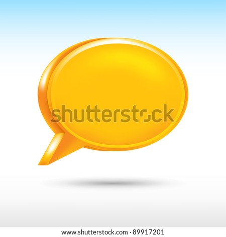 3d blank orange speech bubble shape with drop gray shadow on white background. Vector illustration created in the technique of wire mesh and saved eps 8