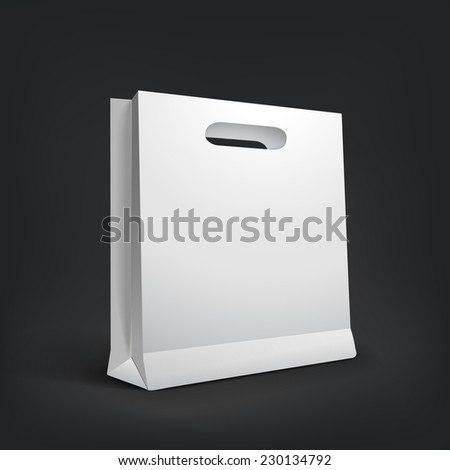 3d blank shopping bag isolated on black background - stock vector