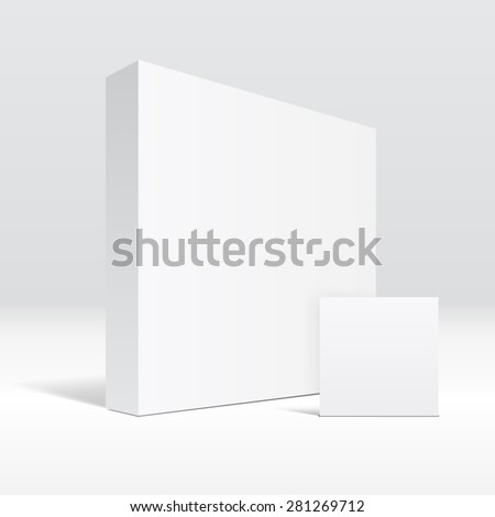 3D blank white packaging box and envelope - stock vector
