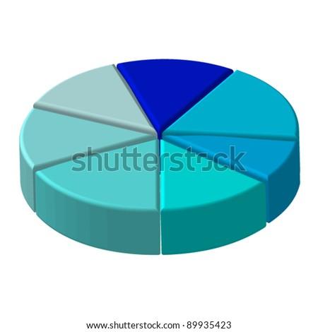 3D blue circle seven pieces chart - stock vector