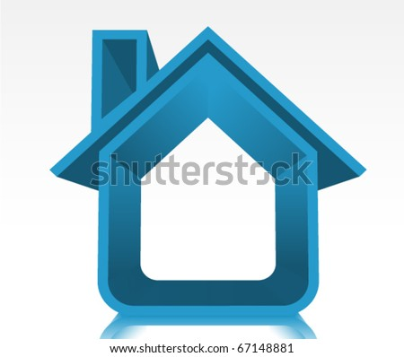 3D Blue House Illustration/Icon - stock vector