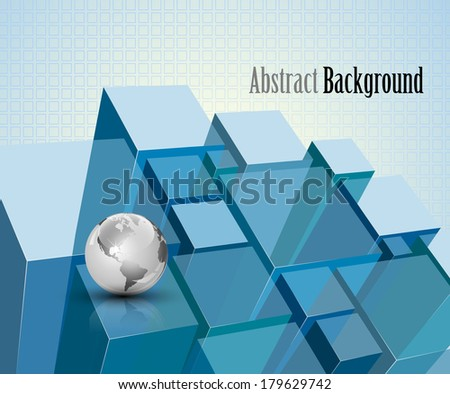 3d blue transparent crystal modules abstract background - vector illustration - stock vector