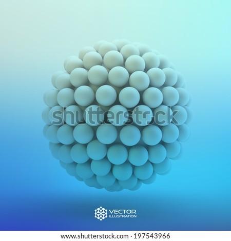3D blue vector illustration - stock vector