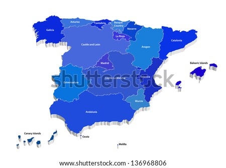 3D blue vector map of Spain